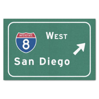 San Diego I-8 West Exit Interstate California Ca - Tissue Paper