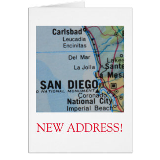 San Diego  New Address announcement Note Card