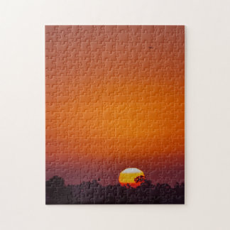 San Diego Orange Plane Trees in Setting Sun Jigsaw Puzzle