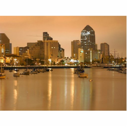 San Diego Sailboats Morning Sunrise Cityscape Acrylic Cut Out