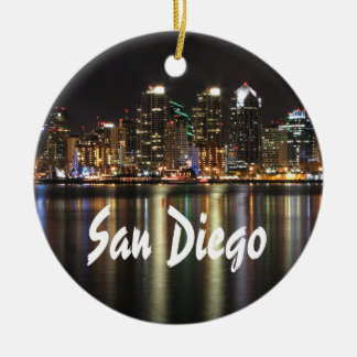 San Diego Skyline at night Ceramic Ornament
