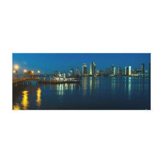 San Diego Skyline at night from Coronado Canvas Print