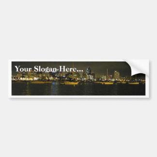 San Diego Skyline Buildings Water Sailboats Nightt Bumper Stickers