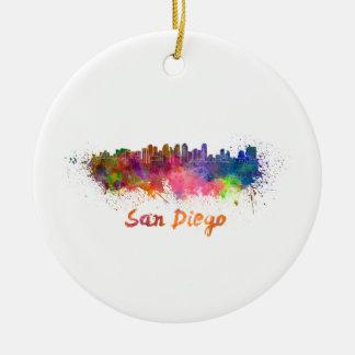 San Diego skyline in watercolor Ceramic Ornament