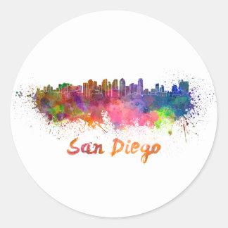 San Diego skyline in watercolor Classic Round Sticker