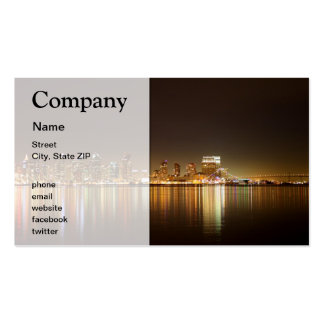 San Diego Skyline Night Business Cards