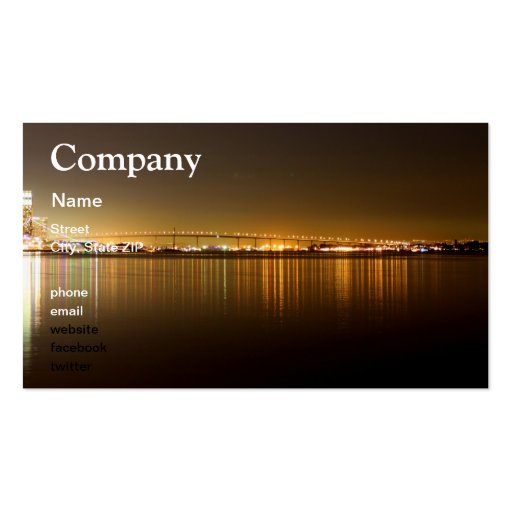 San Diego Skyline Night Business Card Templates