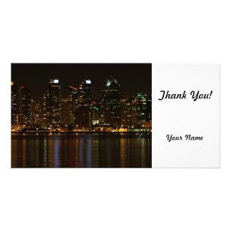 San Diego Skyline Night Customized Photo Card