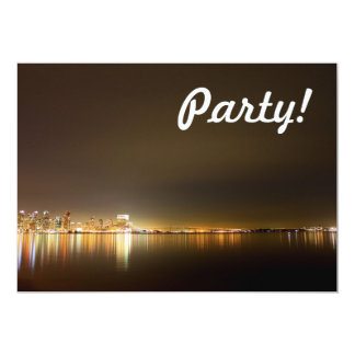 "San Diego Skyline Night 5"" X 7"" Invitation Card"