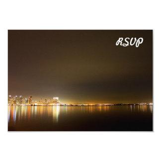 "San Diego Skyline Night 3.5"" X 5"" Invitation Card"