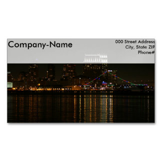San Diego Skyline Night Magnetic Business Cards