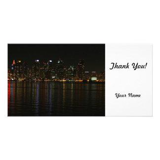 San Diego Skyline Night Personalized Photo Card
