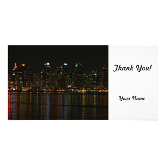 San Diego Skyline Night Customised Photo Card
