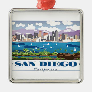 San Diego Skyline Silver-Colored Square Decoration