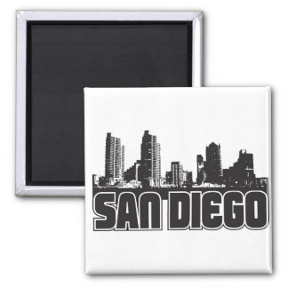 San Diego Skyline Square Magnet