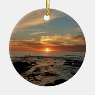 San Diego Sunset II California Seascape Ceramic Ornament