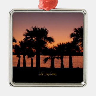 San Diego Sunset - Palm Trees Metal Ornament