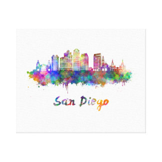 San Diego V2 skyline in watercolor Canvas Print
