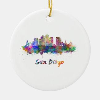 San Diego V2 skyline in watercolor Ceramic Ornament
