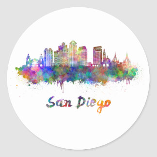 San Diego V2 skyline in watercolor Classic Round Sticker