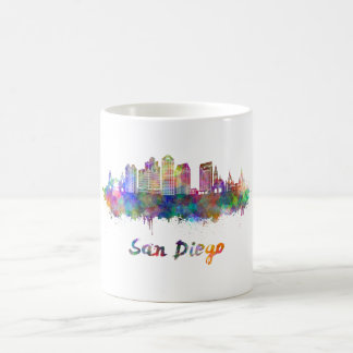 San Diego V2 skyline in watercolor Coffee Mug