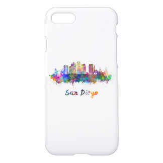 San Diego V2 skyline in watercolor iPhone 7 Case
