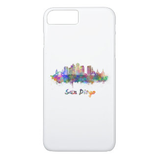 San Diego V2 skyline in watercolor iPhone 7 Plus Case