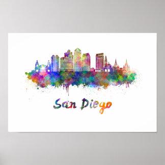 San Diego V2 skyline in watercolor Poster