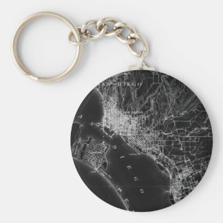 San Diego Vintage Map Key Ring
