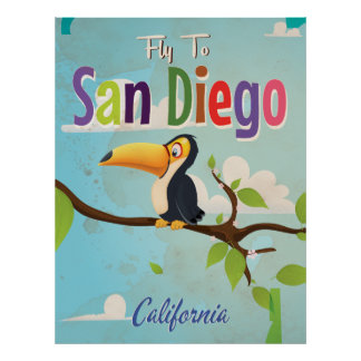 San Diego Vintage vacation Poster