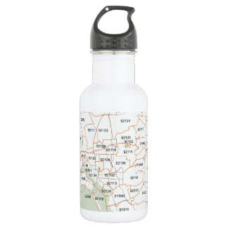 San Diego Zip Code Map 532 Ml Water Bottle