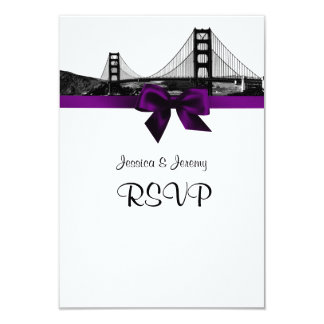 San Fran Skyline Etched BW Purple RSVP Menu Card