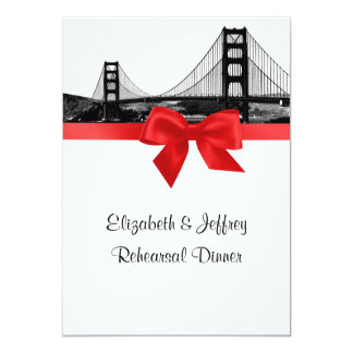 San Fran Skyline Etched BW Red Rehearsal Dinner Card
