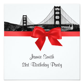 San Fran Skyline Etched BW Red SQ Birthday Party Card