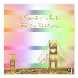 San Fran Skyline Gold Pastel Rainbow SQ Wedding Card