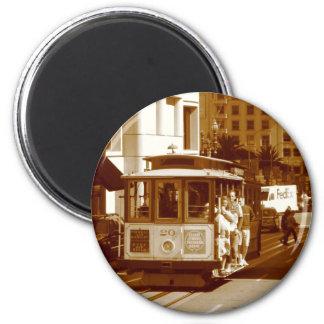 san fran trolley car 6 cm round magnet