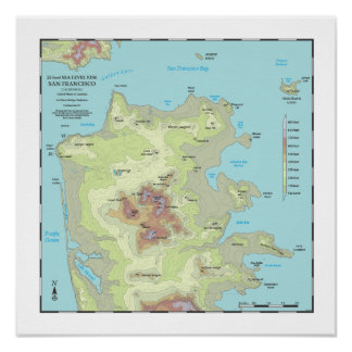 San Francisco 25ft Sea Rise Map - 16x16 Poster