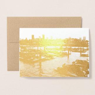 San Francisco and Pier 39 Sea Lions City Skyline Foil Card