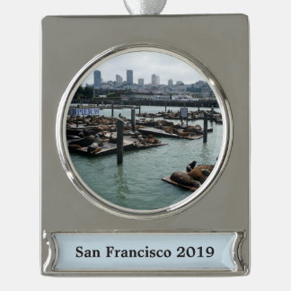 San Francisco and Pier 39 Sea Lions City Skyline Silver Plated Banner Ornament