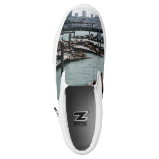 San Francisco and Pier 39 Sea Lions City Skyline Slip-On Shoes