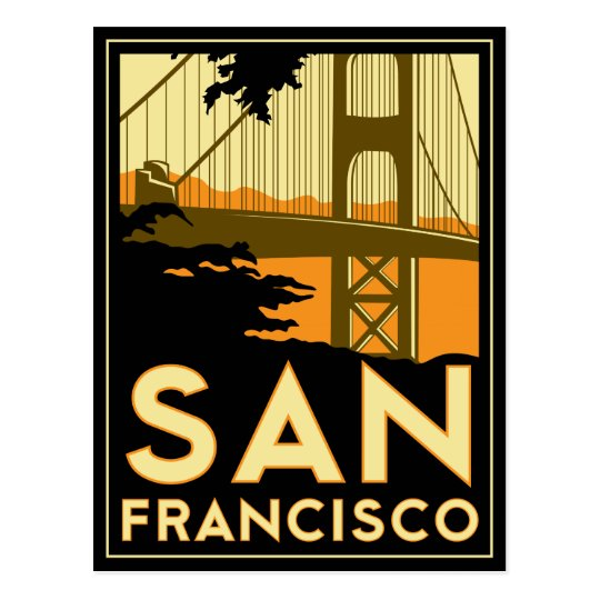 San Francisco Art Deco Travel Poster Postcard