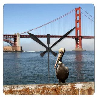 San Francisco Bridge Pelican Square Wall Clock