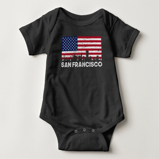 San Francisco CA American Flag Skyline Distressed Baby Bodysuit
