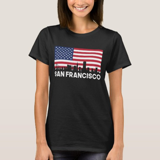 San Francisco CA American Flag Skyline T-Shirt