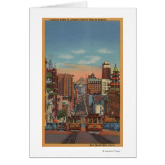 San Francisco, CA - Cable Cars going up Greeting Card