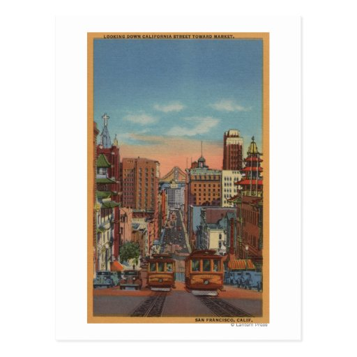 San Francisco, CA - Cable Cars going up Postcards