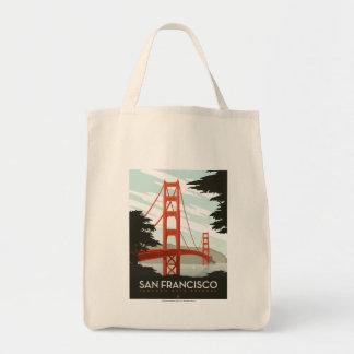 San Francisco, CA - Golden Gate Bridge Grocery Tote Bag