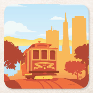 San Francisco, CA - The City by the Bay Square Paper Coaster