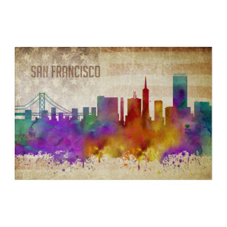 San Francisco, CA | Watercolor City Skyline Acrylic Print