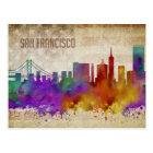 San Francisco, CA   Watercolor City Skyline Postcard